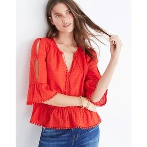Madewell Siren Red Pom Pom Peek A Boo Peasant Top
